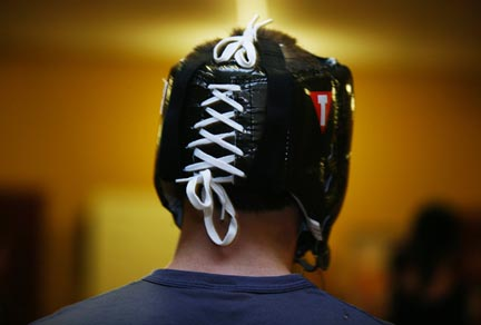 Protective head gear is a must when engaging in a higher level of contact sparring.